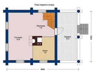План 1 этажа дома 74,4 м2