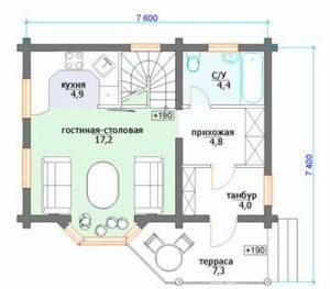 План дома 7 на 7 метров