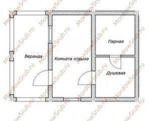 возможная планировка бани 4 на 4 с верандой