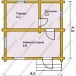 План бани 4 на 4 метров
