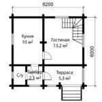 План 1 этажа дома 6 на 6 метров