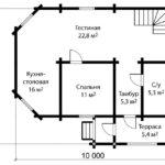 План 1 этажа дома 9 на 10 метров