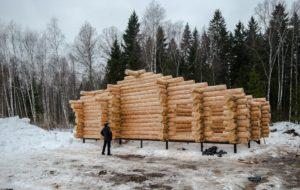 Март 2018 год сруб Дмитров Московская область дом размерами 11 на 14 метров 4
