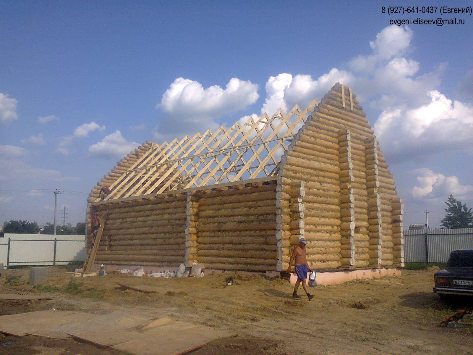 Сруб дом из бревна монтаж крыши