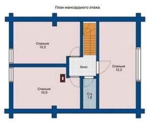 План 2 этажа дома 74,4 м2