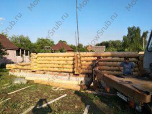 Сборка сруба 7*8 с мансардным этажом в Раменском районе деревня Еганово