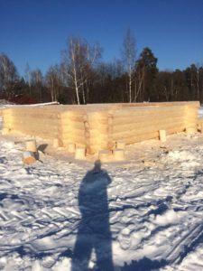 Изготовление сруба бани 6 на 8 метров из зимнего леса